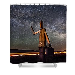 Cosmic Hitchhiker Shower Curtain