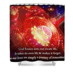 Shower Curtain featuring the mixed media Cosmic Inspiration God Source 2 by Shawn Dall