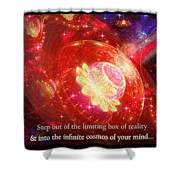 Shower Curtain featuring the mixed media Cosmic Inspiration God Source by Shawn Dall