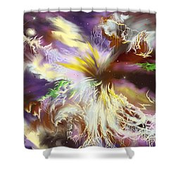 Shower Curtain featuring the digital art The Flowering Of The Cosmos by Amyla Silverflame