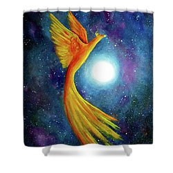 Cosmic Phoenix Rising Shower Curtain by Laura Iverson