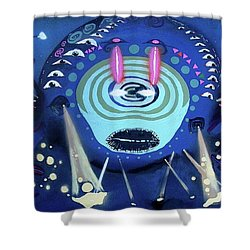 Cosmic Psychedelic Electro Shower Curtain by Rafael Duncan