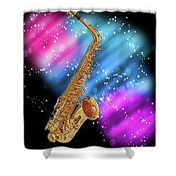 Cosmic Sax Shower Curtain