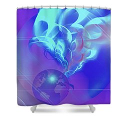 Cosmic Wave Shower Curtain by Ute Posegga-Rudel