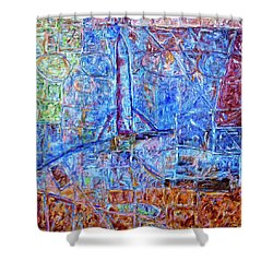 Shower Curtain featuring the painting Cosmodrome by Dominic Piperata