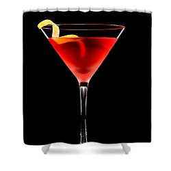 Cosmopolitan Cocktail In Front Of A Black Background  Shower Curtain by Ulrich Schade
