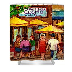 Cosmos  Fameux Restaurant On Sherbrooke Shower Curtain by Carole Spandau