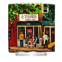 Cosmos Famous Montreal Breakfast Restaurant Shower Curtain by Carole Spandau
