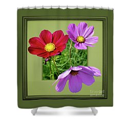 Cosmos Flower Peeking Out Shower Curtain