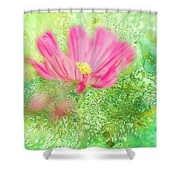 Cosmos On Green Shower Curtain