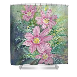 Cosmos - Painting Shower Curtain by Veronica Rickard