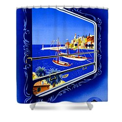 Cote D'azur Vintage Poster Restored Shower Curtain