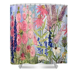 Shower Curtain featuring the painting Cottage Flowers With Dragonfly by Laurie Rohner
