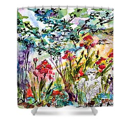 Cottage Garden Angel And Irises Shower Curtain