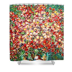 Shower Curtain featuring the painting Cottage Garden Flowers by Natalie Holland