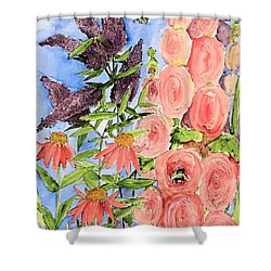 Shower Curtain featuring the painting Cottage Garden Hollyhock Bees Blue Skie by Laurie Rohner