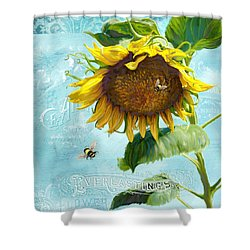 Cottage Garden Sunflower - Everlastings Seeds N Flowers Shower Curtain by Audrey Jeanne Roberts