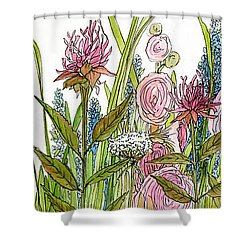 Cottage Hollyhock Garden Shower Curtain
