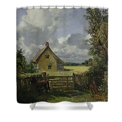 Cottage In A Cornfield Shower Curtain by John Constable