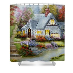 Cottage In Fall Shower Curtain