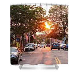 Cottage Street Summer Sunset Shower Curtain
