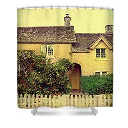 Cottage With A Picket Fence Shower Curtain by Jill Battaglia