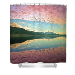 Shower Curtain featuring the photograph Cotton Candy Clouds At Skaha Lake by Tara Turner