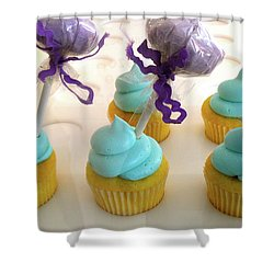 Shower Curtain featuring the photograph Cotton Candy Cupcakes by Beth Saffer