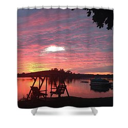 Cotton Candy Sunset Shower Curtain by Rebecca Wood