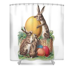 Shower Curtain featuring the digital art Cottontails And Eggs by Reinvintaged