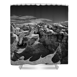 Cottonwood Creek Strange Rocks 2 Bw Shower Curtain