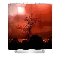 Shower Curtain featuring the photograph Cottonwood Crimson Sunset by Joyce Dickens