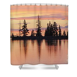 Cottonwood Sunset Lake Reflections  Shower Curtain