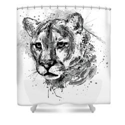 Shower Curtain featuring the mixed media Cougar Head Black And White by Marian Voicu