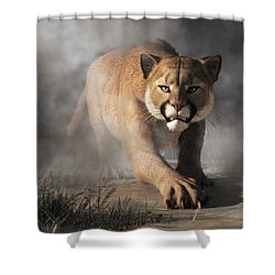 Shower Curtain featuring the digital art Cougar Is Gonna Get You by Daniel Eskridge