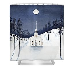 Country Church In Moonlight 2, Silent Night Shower Curtain