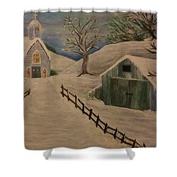 Country Church In The Snow Shower Curtain by Christy Saunders Church