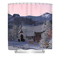 Shower Curtain featuring the digital art Country Church by Methune Hively