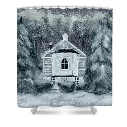 Shower Curtain featuring the digital art Country Church On A Snowy Night by Lois Bryan