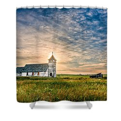 Country Church Sunrise Shower Curtain by Rikk Flohr