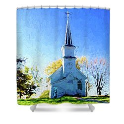 Country Church Shower Curtain by Susan Crossman Buscho