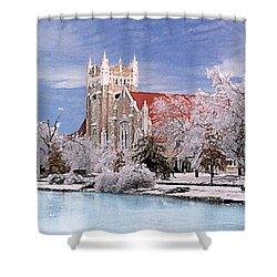 Shower Curtain featuring the photograph Country Club Christian Church by Steve Karol