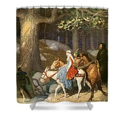 Country Folk Wending Their Way To The Tourney Shower Curtain by Newell Convers Wyeth