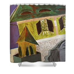 Shower Curtain featuring the pastel Country House by Manuela Constantin