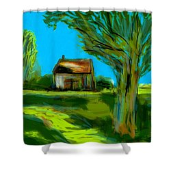 Shower Curtain featuring the painting Country Landscape by Jim Vance