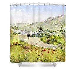 Country Lane In Spring Shower Curtain by Margaret Merry