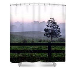 Country Morning Fog Shower Curtain