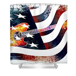 Country Music Guitar And American Flag Shower Curtain by Annie Zeno