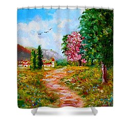 Country Pathway In Greece Shower Curtain