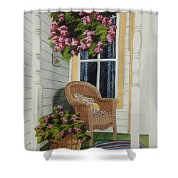 Country Porch Shower Curtain by Charlotte Blanchard